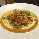 Trout Mi-Cuit, Grilled Zucchini, Pommes Puree, Tom Kha