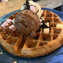 TWB Purple Sweet Potato Waffle With Ice Cream