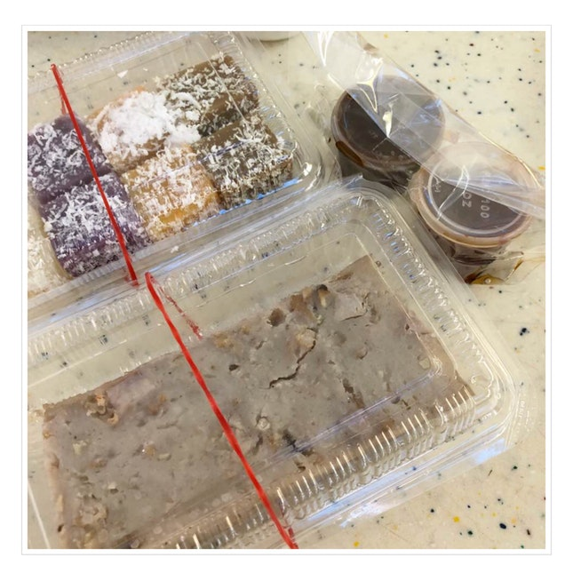Yam cake and assorted kueh