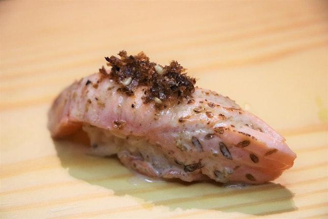 Aburi Sake (Seared Salmon) Sushi with sesame sauce and bonito flakes