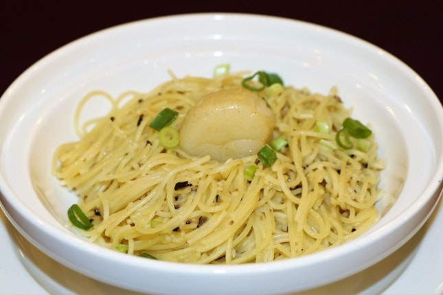 Stir-Fried Angel Hair Pasta with Scallop and Minced Black Garlic in White Truffle Oil