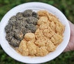 At Hougang Muah Chee, you can have both , White (peanut coated)  and Black (black sesame coated).