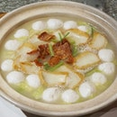 "Homemade Fish Balls and Fish Cake Braised with ""Tianjin"" Cabbage in Superior Broth from Chui Huay Lim Teochew."