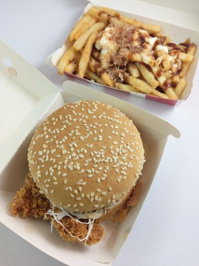 Tori Katsu Burger and Bonito Fries