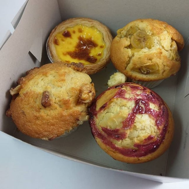 Muffins and an egg tart from Selegie Soya Bean S$1.80 each or S$6.50 for 4  Despite the different flavours, they all really just tasted the same...