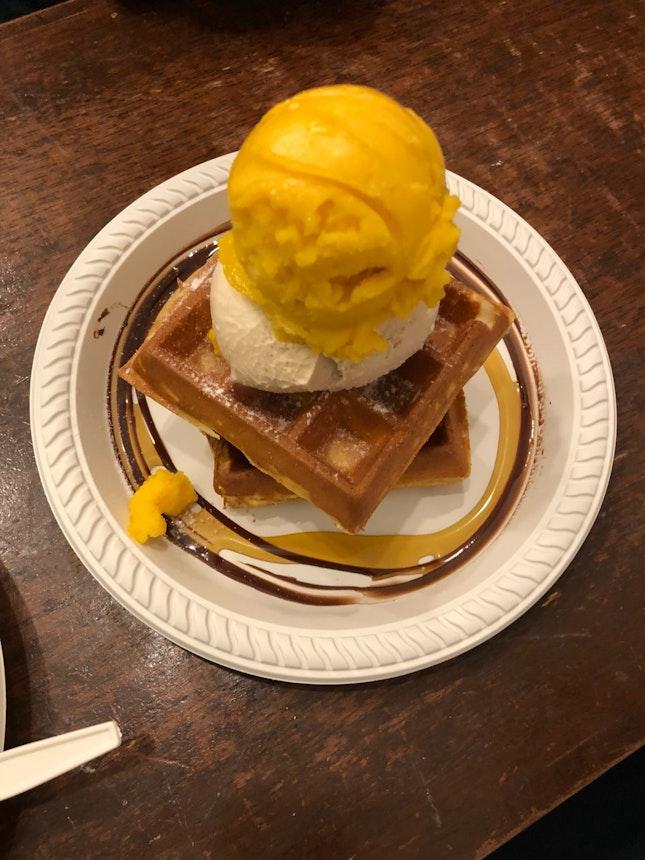 Waffle Set - Earl Grey Lavender, Mango Passion fruit Sorbet