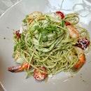Spaghetti Seafood Shiso Pesto