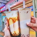 pudding caramel milk tea + pearls ($5), dirty brown sugar fresh milk ($4.90)