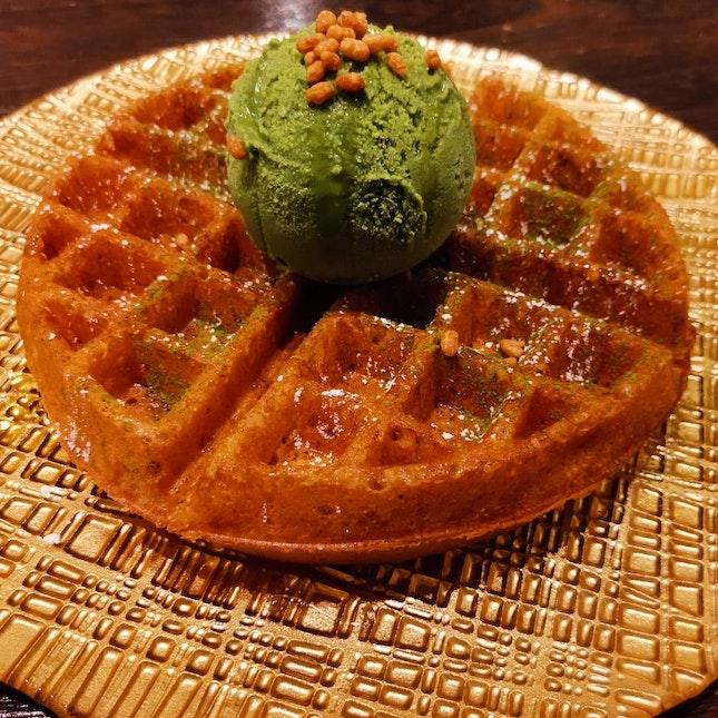 Buttermilk Waffle With Matcha Ice Cream