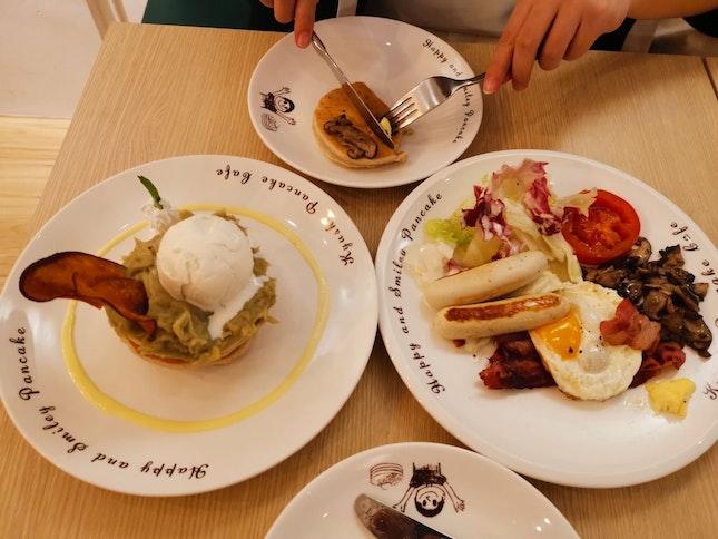 American Big Breakfast And Sweet Potato Pancake