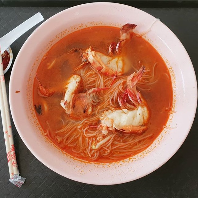 Prawn beehoon ($5) 🙁 : the soup may look very colorful but no taste..