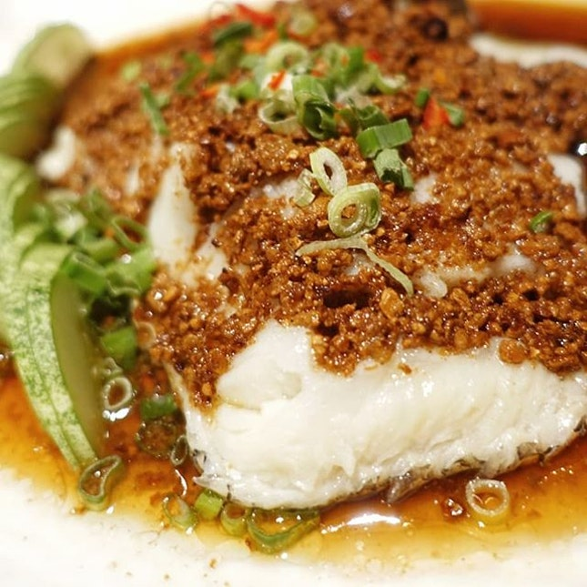 Steamed Sea Perch With Crispy Bean Crumb