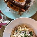 carbonara & salted caramel french toast ($15 each)
