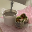 Sweet thai chicken popiah and mushroom soup (part of the set $9.8 w drink)