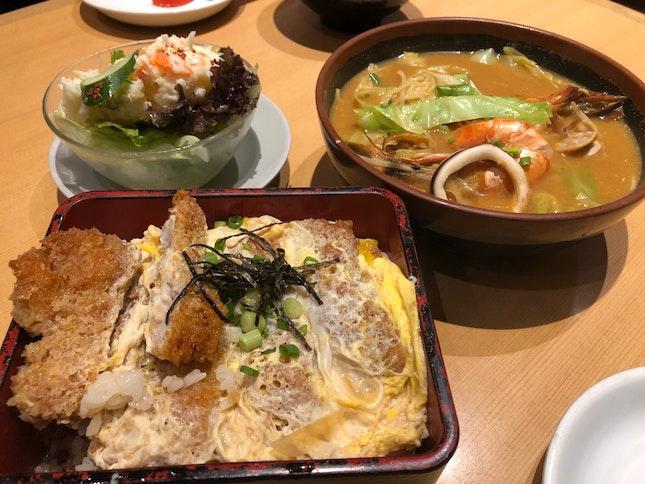 Chicken Katsu Don $10.8, Potato Salad $7, Spicy Tonkotsu Seafood Ramen ~$14