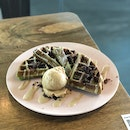 Pandan Waffles $8.8, Coffee Milk Ice Cream $3.7