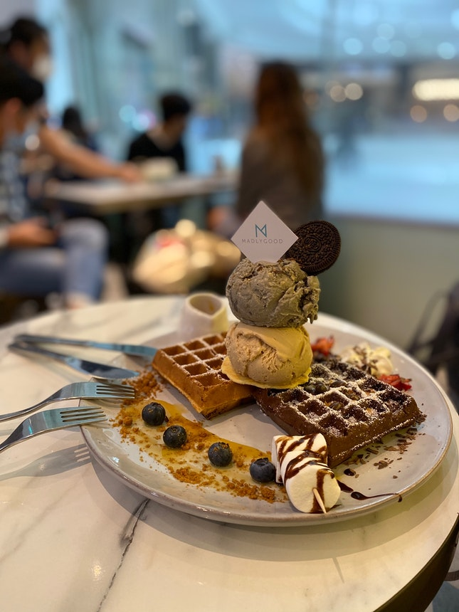 Waffles $13 With Double Scoop Ice Cream $4.6 Each