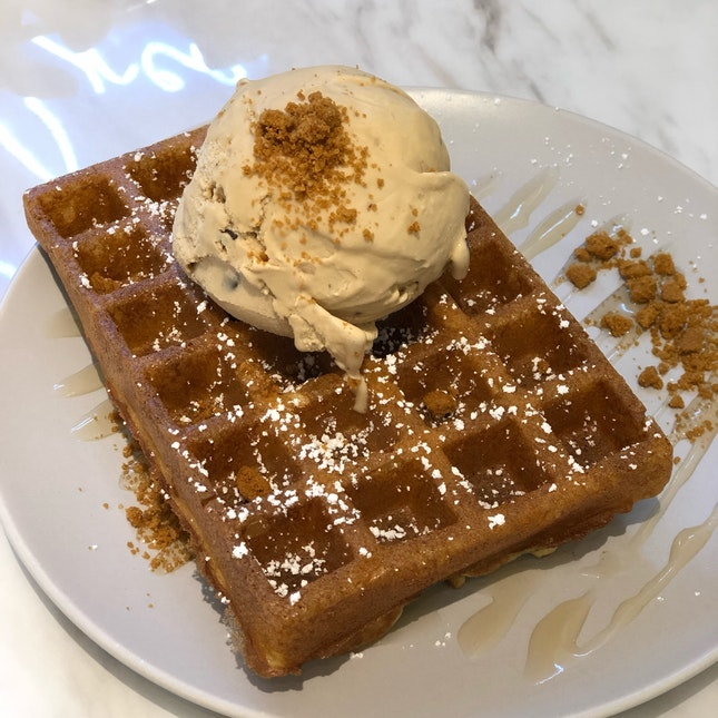 Waffle with Salted Caramel Cookie Dough $9.3