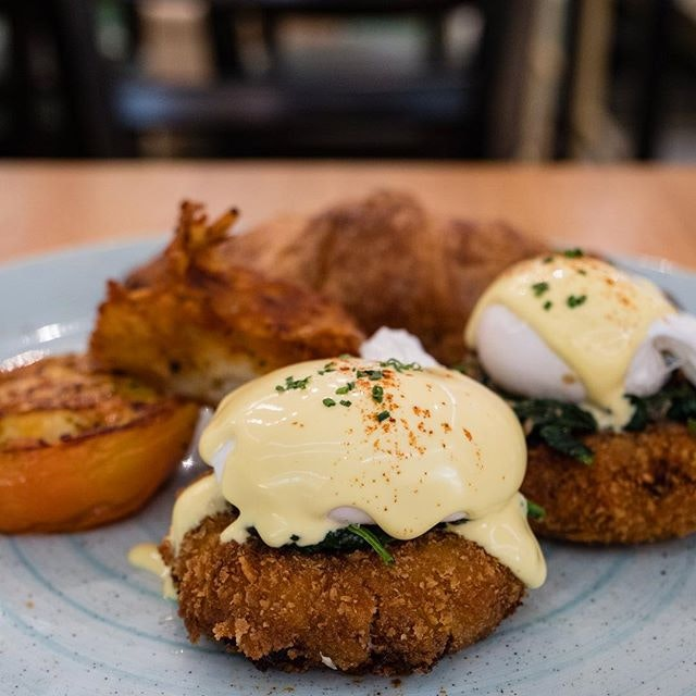 Crab Bake Benedict | homemade crab croquettes, poached eggs, hollandaise