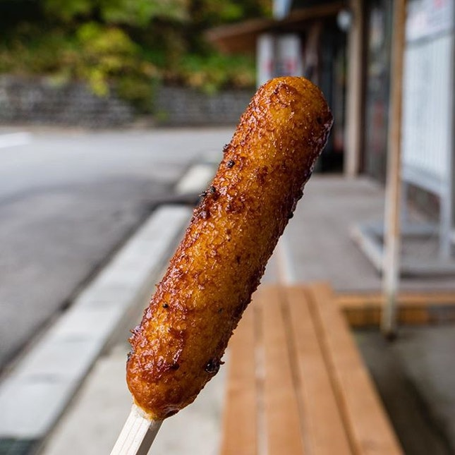 Kiritanpo (きりたんぽ), found predominantly in Akita Prefecture, is served with a Japanese cedar skewer.