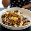 Salmon Soba Noodles | poached salmon, soy Shimeji, Furikake crispy egg, cilantro-lime Nori yoghurt, soba