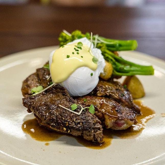 Breakfast Steak | 170g scotch steak, finger potato, free range poached egg, sourdough toast, hollandaise