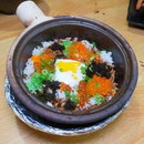 Onsen Egg with Ikura and Tobiko Claypot Rice