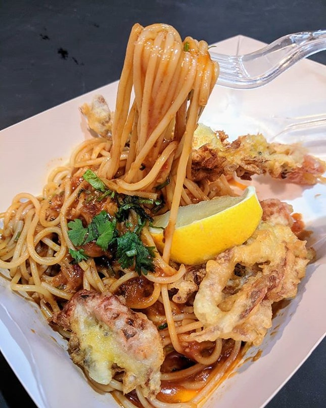 Chilli crab pasta with soft shell crab.