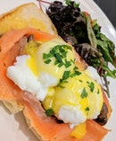 A breakfast classic -- smoked salmon and eggs Benedict!