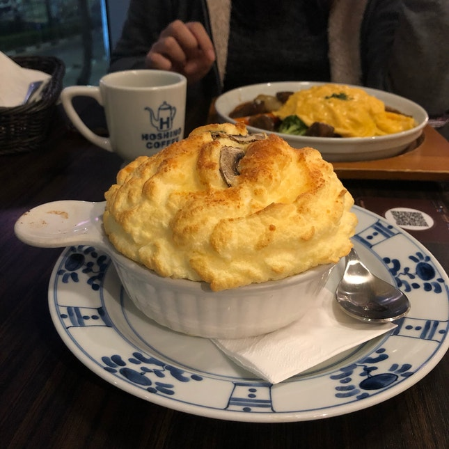 Fuwa Fuwa Hoshino Soufflé on Porcini Cream Rice ($16.80++)