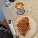 Breakfast - Ham And Cheese Croissant And Latte