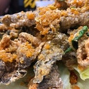 Fried fish skin with generous servings of salted egg.