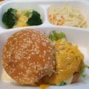 Monster Beef Burger (2 sides: Cheesy Broccoli & corn, Coleslaw) ($8.90)