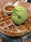 Waffle with Kyoto Green Tea Ice Cream (10$?)