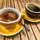 Rose Earl Grey Tea and Americano @joendough @square2sg  #cafe #sgcafe #coffee #coffeelover #coffeeholic #cuppa #brew #kopi #burpple #joeanddough #tea #flowertea