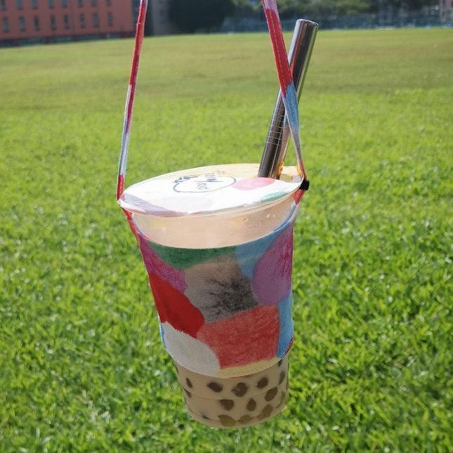 Singapore Milk Tea, 50% Sugar With Chrysanthemum Pearl