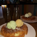 Waffle With Double Scoops Ice Cream