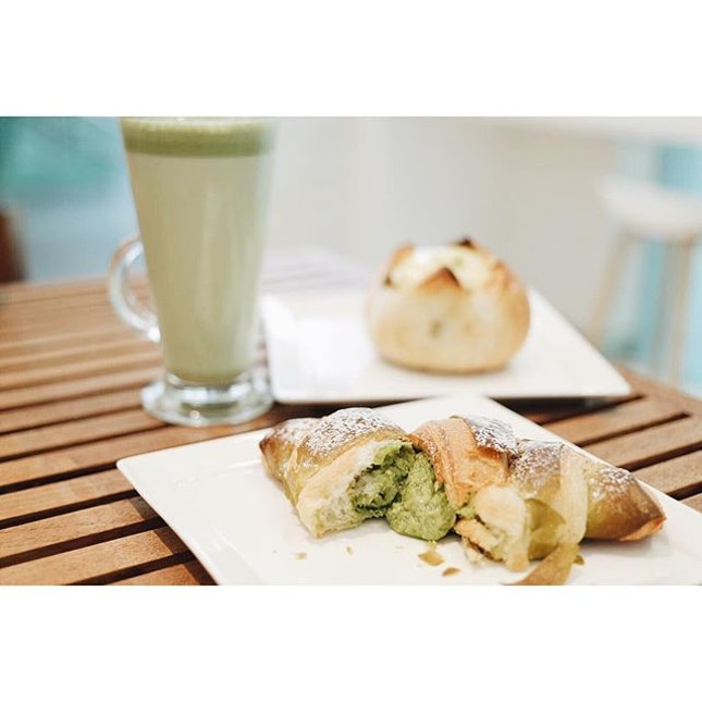 Matcha salted egg croissant, French Potato and Matcha Latte.
