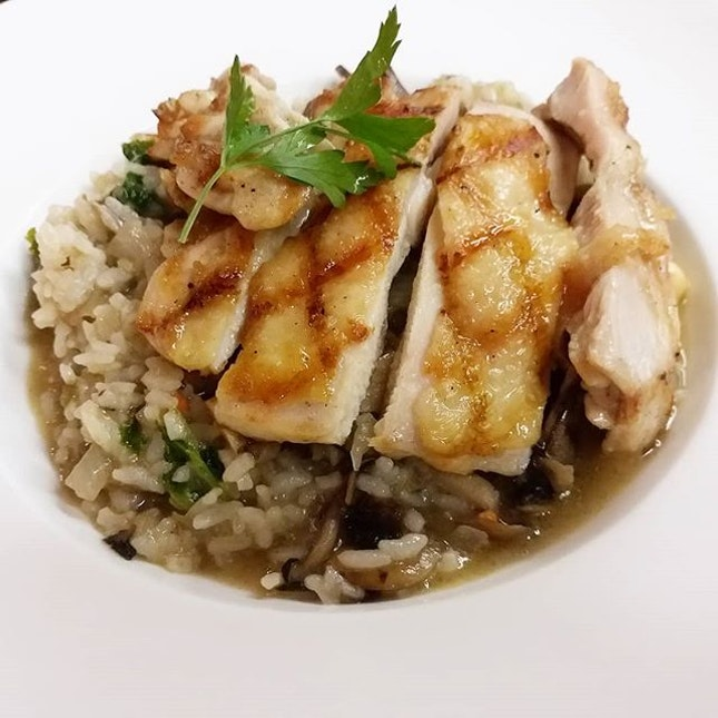 Grilled Chicken and Mushroom Risotto from Mad for Garlic!
