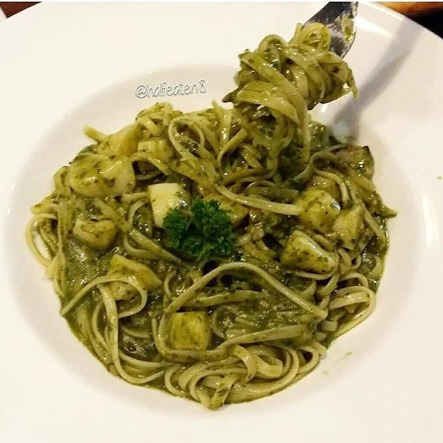Pesto Linguine with Scallops!