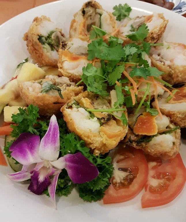 Dried Oyster, Salted Egg and Prawn Fritters