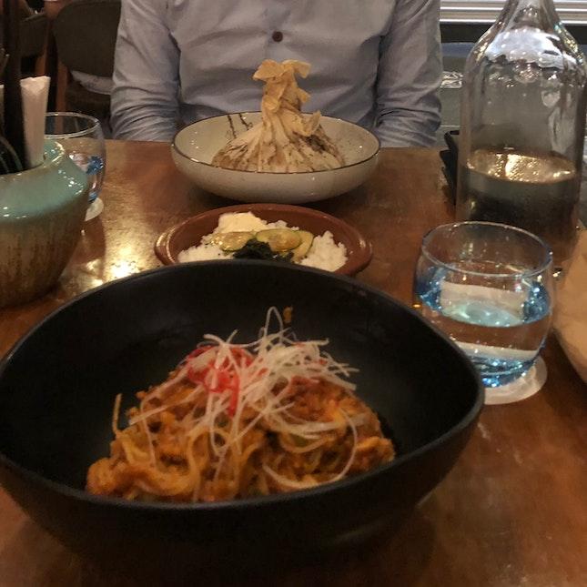 Chilli Crab Spaghettini & Paperbag Oven-Baked Halibut Fillet