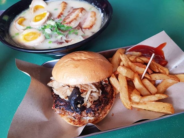 Good Ramen<$7 😱 + Ayam Buah Keluak Burger w fries ($6.50)  The price point is definitely there for a decent ramen or burger set.