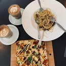Avocado Unagi Pizza and Truffle Mushroom Pasta and Lattes