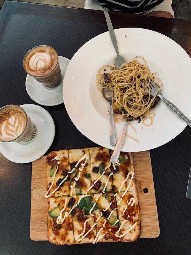Avocado Unagi Pizza and Truffle Mushroom Pasta and Lattes