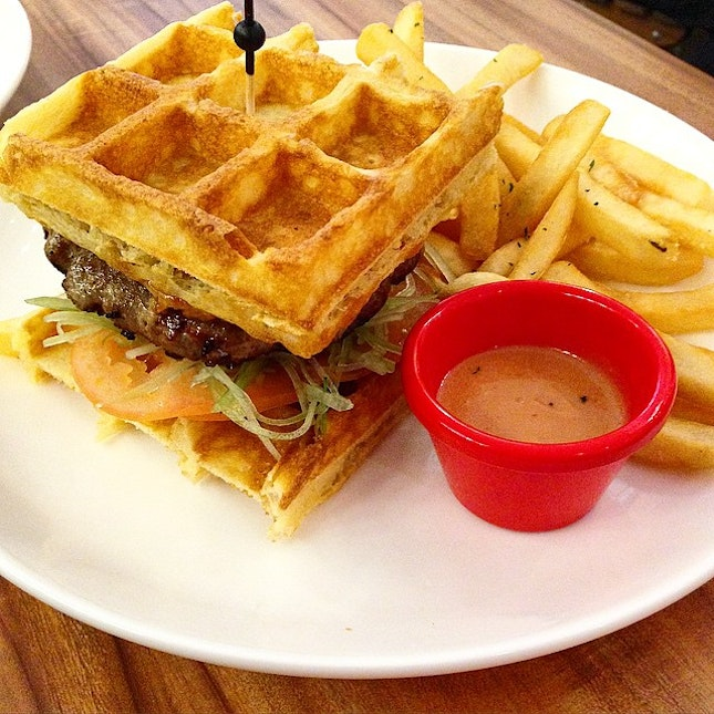 "Wager @ Whimsical Gelateria Caffe  A waffle burger, integrated to be called the ""Wa-Ger""."