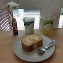 Roll Cake, Matcha Latte and a Citrusy Iced Tea