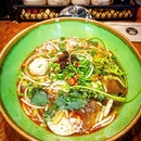 Bun Bo Hue, or Spicy Beef Noodle, and in this dish, additional pork was included as one of the ingredients.