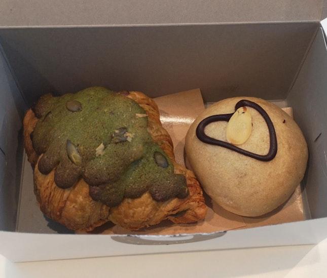 Matcha Croissant ($3), Choco Hazelnut Bun ($2.80)