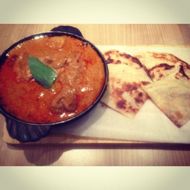 Massaman beef curry with Thai style pancake